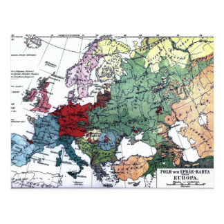 Vintage Kaart van Europa 1876 Wens Kaarten