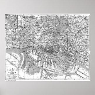 Vintage Kaart van Hamburg Duitsland (1910) 2 BW Poster