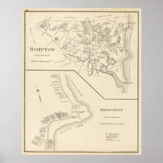 Vintage Kaart van Hampton Strand NH (1892) Poster