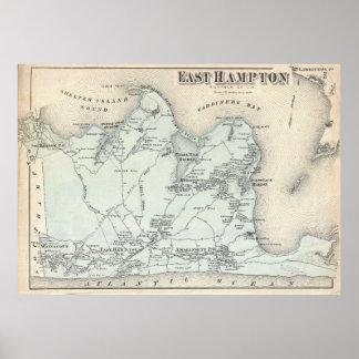 Vintage Kaart van het Oosten Hampton New York Poster