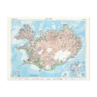 Vintage Kaart van IJsland Canvas Print