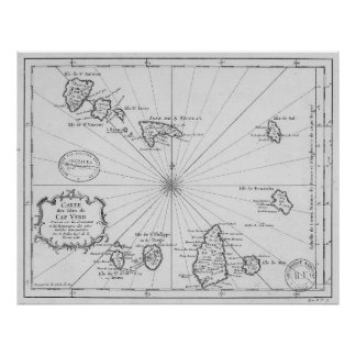 Vintage Kaart van Kaapverdië (1746) Poster