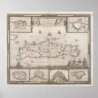 Vintage Kaart van Kreta Griekenland (1680) Poster