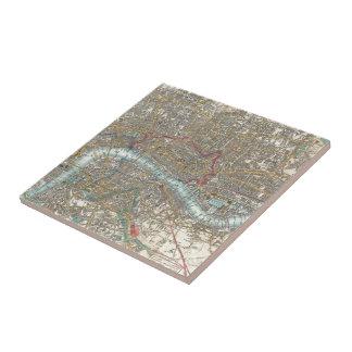 Vintage Kaart van Londen (1848) Keramisch Tegeltje