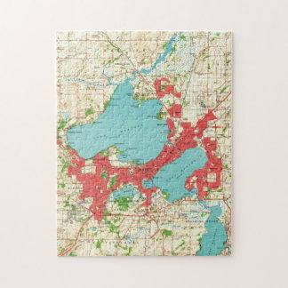 Vintage Kaart van Madison Wisconsin (1959) Legpuzzel