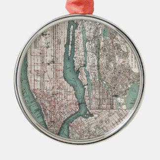 Vintage kaart van New York (1897) Zilverkleurig Rond Ornament