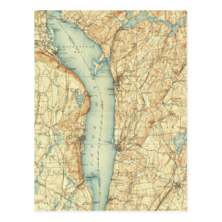 Vintage Kaart van NY Tarrytown & de Rivier Hudson