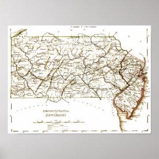 Vintage Kaart van Pennsylvania+NJ 1875 Poster