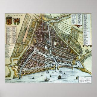 Vintage Kaart van Rotterdam Nederland (1649) Poster