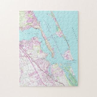 Vintage Kaart van St Lucie van de Haven Inham Legpuzzel