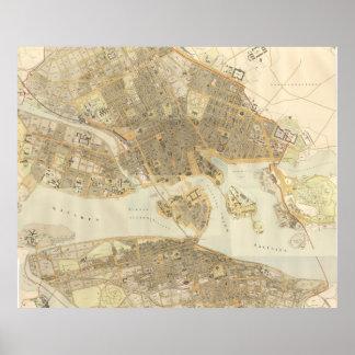 Vintage Kaart van Stockholm (1899) Poster