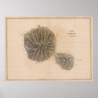 Vintage Kaart van Tahiti (1845) Poster