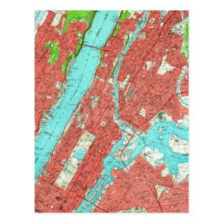 Vintage Kaart van Uptown Manhattan & Bronx (1956)
