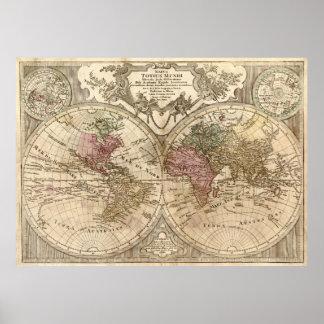 Vintage Kaart van Wereld (1775) 3 Poster