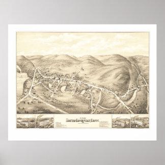 Vintage kaart van Zuid-Coventry, CT van 1878 Poster