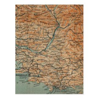 Vintage Kaart van Zuidelijk Frankrijk (1914)