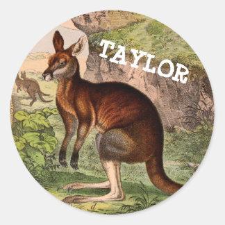 Vintage kangoeroe met naam ronde sticker