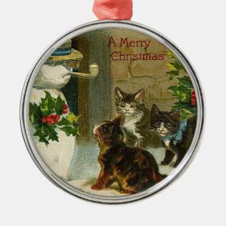 Vintage Katjes en Sneeuwman Zilverkleurig Rond Ornament