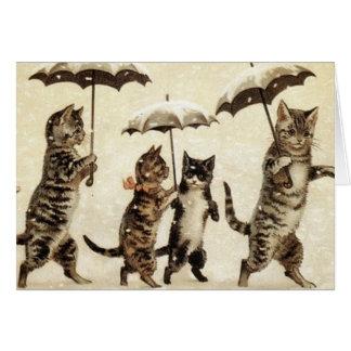 Vintage Katten die in de Sneeuw lopen Briefkaarten 0