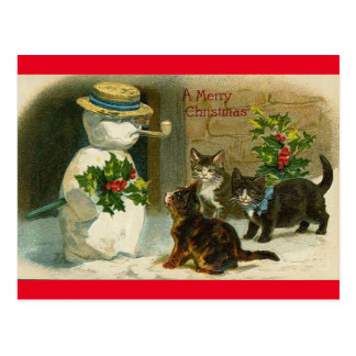 Vintage katten sneeuwpop gelukkig kerstfeest brief briefkaart