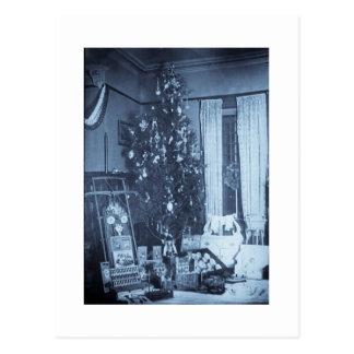 Vintage Kerstboom op de Ochtend van Kerstmis Briefkaart