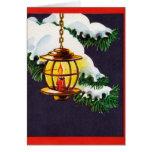 Vintage Kerstkaart - de Lantaarn van de Vakantie Kaarten