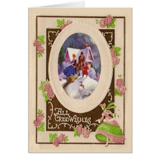 Vintage Kerstkaart Kaart