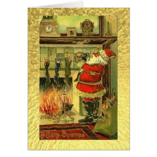 Vintage Kerstkaart - Kerstman, Kousen Wenskaart