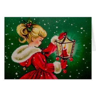 Vintage Kerstkaart met Jong Meisje Wenskaart