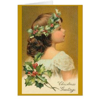 Vintage Kerstkaart met Victoriaans Meisje Wenskaart