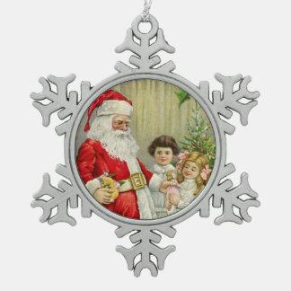 Vintage Kerstman die Giften uitdelen Tin Sneeuwvlok Ornament