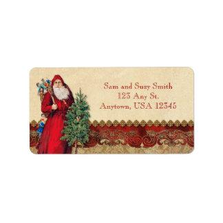 Vintage Kerstman en Boom Etiket