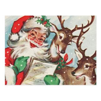 Vintage Kerstman en Rendier Briefkaart