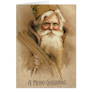 Vintage Kerstman Kaart