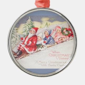 vintage-kerstman-Kerstmis-post-kaart-0390 Zilverkleurig Rond Ornament