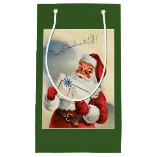 Vintage Kerstman met Cadeau Klein Cadeauzakje