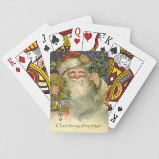 Vintage Kerstman met de Speelkaarten van het