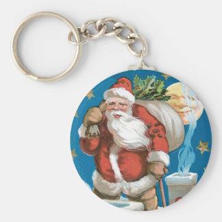 Vintage Kerstman met Maan Basic Ronde Button Sleutelhanger