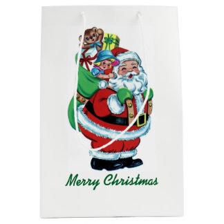 Vintage Kerstman met Zak Medium Cadeauzakje