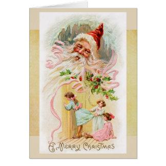 Vintage Kerstman op de Kaart van de Ochtend van