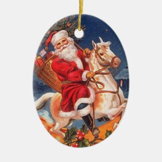 Vintage Kerstman op een Ornament van het