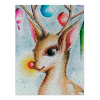 vintage Kerstmis Bambi Briefkaart