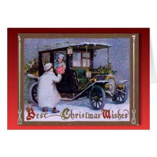 Vintage Kerstmis, Bloemen voor een meisje in een Kaart