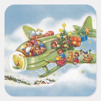 Vintage Kerstmis, de Kerstman die Zijn Vliegtuig Vierkante Sticker