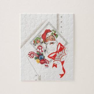 Vintage Kerstmis, de Kerstman met het Riet van het Legpuzzel