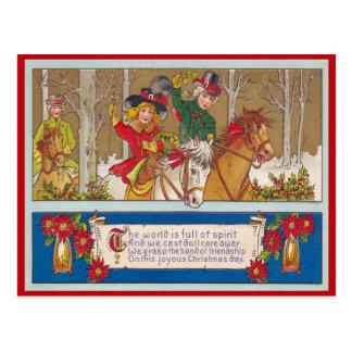 Vintage Kerstmis, de rit van A in het bos Briefkaart