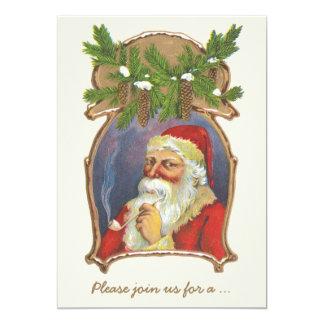 Vintage Kerstmis, de Victoriaans Kerstman met Pijp Kaart