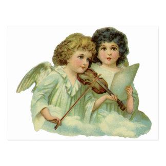 Vintage Kerstmis, de Victoriaans Viool van de Briefkaart