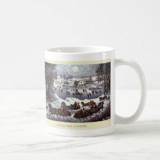 Vintage Kerstmis, de Winter Snowscapes en Koffiemok
