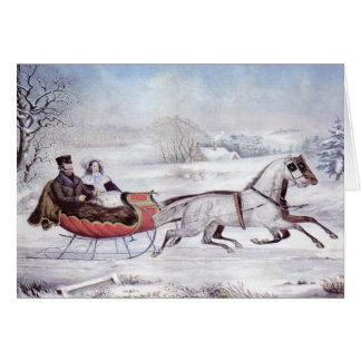 Vintage Kerstmis, de Winter van de Weg, het Paard Kaart
